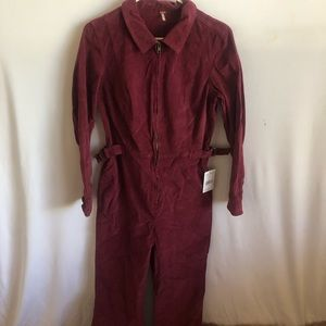 NWT Free People Size 8 Burgundy Belted Jumpsuit